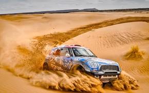 Обои Песок, Mini, Спорт, Пустыня, Скорость, Гонка, Жара, Rally, Ралли, Дюна, Raid, MINI Cooper, X-Raid