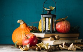 Картинка осень, листья, яблоки, книги, тыква, осенние плоды
