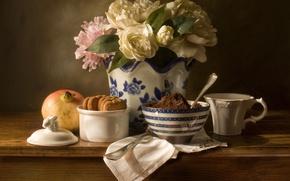 Картинка цветы, букет, печенье, натюрморт, гранат, гардения