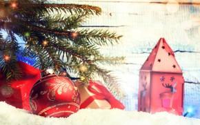 Картинка снег, украшения, шары, елка, Новый Год, Рождество, happy, Christmas, snow, New Year, Merry Christmas, Xmas, …