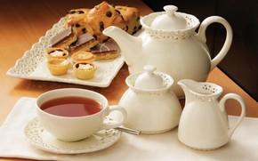 Картинка чай, посуда, пирожное