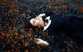 Картинка девушка, цветы, настроение, платье, Antonia Clio Cárdenas