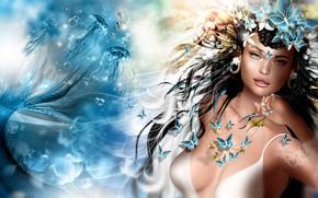 Обои русалка, медузы, девушка, бабочки, арт