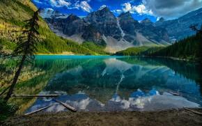 Картинка лес, облака, деревья, горы, озеро, скалы, Канада, Banff National Park, Lake Moraine, Банф