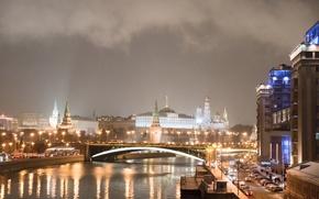 Картинка река, Kremlin, Москва, ночь, огни, город, Moscow, Кремль, Russia