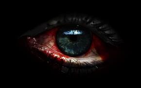 Картинка глаз, отражение, крест, кровавые слезы, в темноте, черная магия