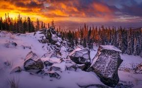 Обои зима, горы, закат