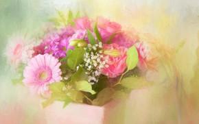Картинка розы, букет, текстура, гербера