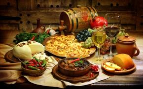 Обои виноград, бокалы, хачапури, зелень, сыр, вино, овощи, гранат, стол, ассорти, бочонок, перец, блюда
