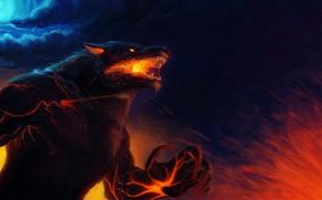 Обои когти, горящие глаза, полнолуние, оборотень, волк, пасмурная ночь, матерый, пламя, боль, шерсть, wolf, клыки, art, ...