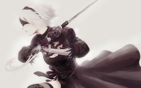 Обои android, katana, tape, bandage, yorha 2b, square enix, ps4, black, white, sword, nier, girl, art, ...