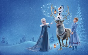 Картинка зима, лес, снег, деревья, мультфильм, вечер, олень, фонари, снеговик, Anna, Walt Disney, Elsa, Olaf, Олаф …
