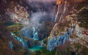 Обои осень, горы, природа, туман, скалы, дымка, водопады