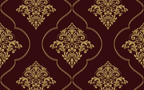 Картинка vector, золотой, орнамент, pattern, ornament, seamless, damask
