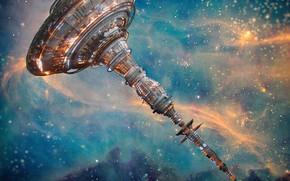Обои space station X2, звёзды, космос, станция, база