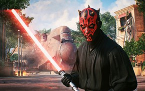 Обои lightsaber, Battlefront 2, Star Wars, 2017, Darth Maul, sith, red