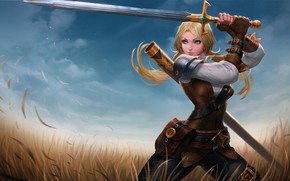 Обои artwork, digital art, fantasy art, girl, blonde, sword, Warrior, field, weapon, blue eyes, fantasy