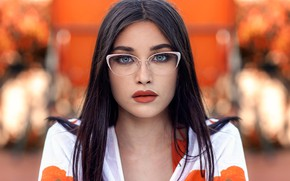 Картинка взгляд, девушка, портрет, макияж, брюнетка, очки, прическа, красивая, боке, Jessica Napolitano