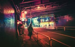 Картинка Город, Tokyo, Фонари, Свет, Ночь, Masashi Wakui, Люди, Дорога, Токио