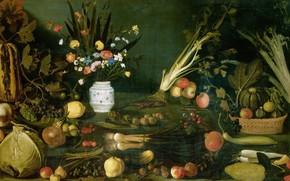Картинка картина, Микеланджело Меризи да Караваджо, Натюрморт с Цветами Овощами и Фруктами