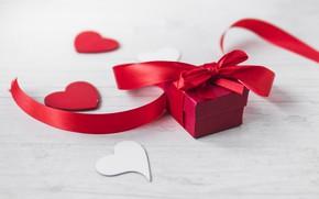 Обои подарок, коробка, лента, День святого Валентина, сердечки