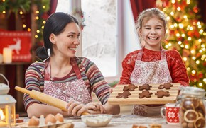 Картинка праздник, новый год, мама, веселье, дочь
