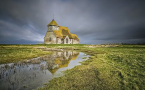 Картинка landscape, Romney Marsh, St Thomas à Becket Church