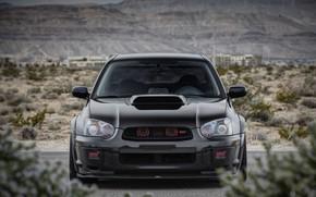 Обои Subaru, Impreza, WRX, STI, Front, Black