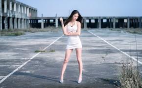Картинка лето, фон, платье, ножки, азиатка