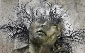 Обои статуя, фон, монтаж, дерево