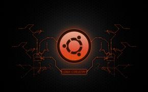 Обои микросхема, схема, логотип, Metal, logo, Linux, style, Линукс, Ubuntu, Убунту, UbuntuCircuitry