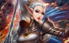 Картинка грудь, девушка, волосы, эльф, красота, меч, воин, уши, adalia