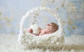 Картинка сон, девочка, коляска, мех, бантик, младенец
