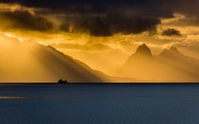 Картинка море, облака, свет, корабль, горизонт, Норвегия, Norway, Nordland, Grytting
