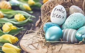 Обои цветы, Пасха, тюльпаны, happy, flowers, tulips, spring, Easter, eggs, decoration, яйца крашеные