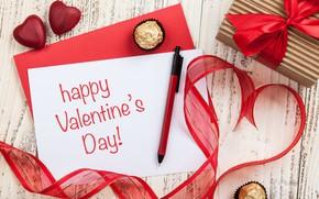 Картинка любовь, подарок, сердце, лента, сердечки, red, love, wood, romantic, hearts, Valentine's Day, gift, Happy