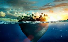 Картинка море, вода, капли, пальмы, сердце, остров