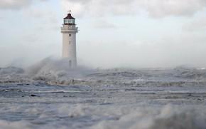 Картинка море, волны, брызги, шторм, маяк, Англия