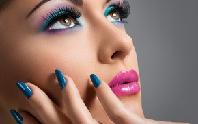 Картинка Brunette, painted nails, girl, eyes, make up