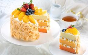 Картинка чай, клубника, торт, слои, персик, крем, голубика