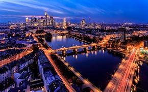 Обои огни, река, здания, Германия, панорама, мосты, ночной город, Germany, Франкфурт-на-Майне, Frankfurt am Main, Main River, ...