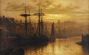 Обои Вечер, Корабли, Louis Hubbard Grimshaw, Город