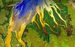 Картинка река, краски, вид со спутника, Западная Австралия, устье, Cambridge Gulf