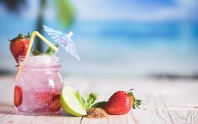 Картинка клубника, лайм, напиток, мята, drink, fruits, tropical