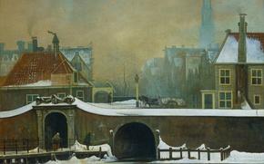 Обои Ваутер Йоханнес ван Троствийк, Raampoortje в Амстердаме, городской пейзаж, картина