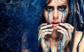Картинка blue, drag, model, tears, look, pose, Makeup