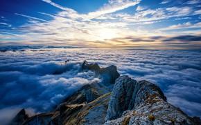 Обои clouds, Switzerland, Saentis Mountain, peaks, mountains, rock, Alps, sky, nature, landscape