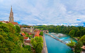 Картинка зелень, небо, облака, деревья, пейзаж, природа, река, дома, Швейцария, панорама, Берн