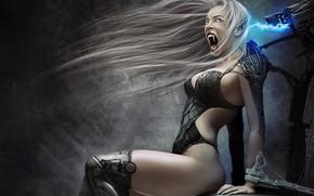 Картинка girl, fantasy, robot, Vampire, digital art, artwork, fantasy art, cyborg, teeth, fantasy girl