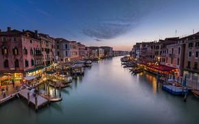 Картинка Италия, Венеция, канал, Italy, sunset, Venice, Panorama, channel, Grand Canal, Rialto Bridge
